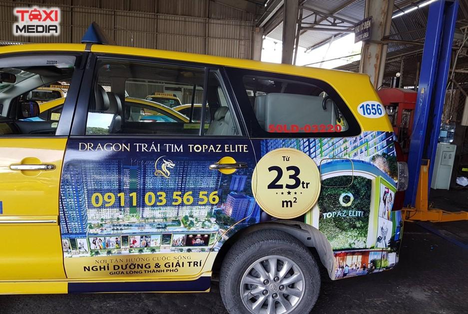 Topaz Elit quảng cáo trên taxi